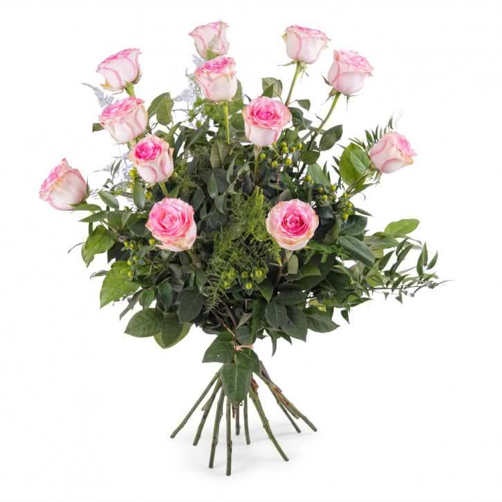 Carícia, 12 Rosas Cor-de-Rosa de Pé Longo