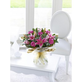 Pink Rose and Lily Hand-tied, Pink Rose and Lily Hand-tied