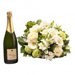 White bouquet with Champagne, White bouquet with Champagne