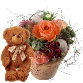 Petit bisou fleuri avec ours en peluche (brun), Petit bisou fleuri avec ours en peluche (brun)