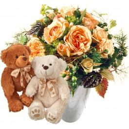 Délicat bouquet de roses avec un couple d'ours en peluche (b, Délicat bouquet de roses avec un couple d'ours en peluche (b