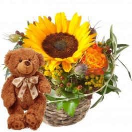 Bisou ensoleillé avec ours en peluche (brun), Bisou ensoleillé avec ours en peluche (brun)