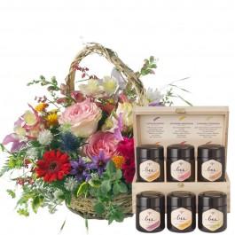 Romantic Seasonal Basket with honey gift set, Romantic Seasonal Basket with honey gift set