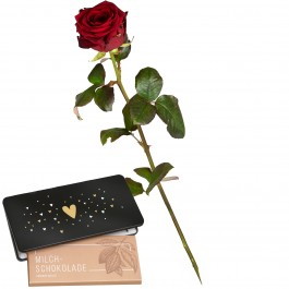 "1 Red Rose (long stem) and bar of chocolate ""Heart"", 1 Red Rose (long stem) and bar of chocolate ""Heart"""