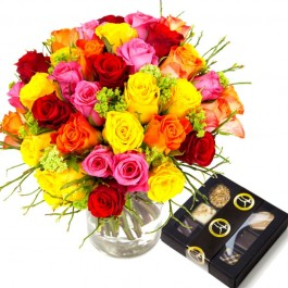 Colorful bouquet of short roses + Chocolate 100g, Colorful bouquet of short roses + Chocolate 100g