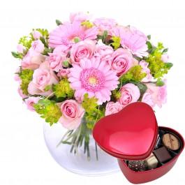 Hug for happiness, pink + Chocolate heart, Hug for happiness, pink + Chocolate heart