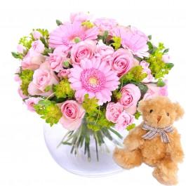 Hug for happiness, pink + Teddy bear, Hug for happiness, pink + Teddy bear