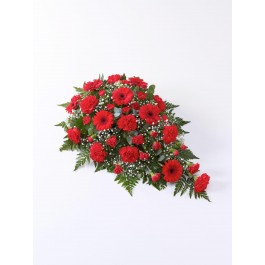 Carnation and Germini Teardrop Spray Red, Carnation and Germini Teardrop Spray Red