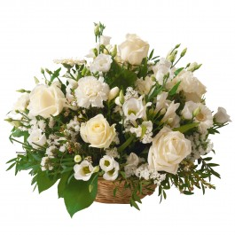 Funeral basket ok white flowers, Funeral basket ok white flowers
