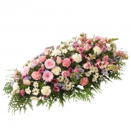 Funeral spray of mixed flowers in pink colour, Funeral spray of mixed flowers in pink colour