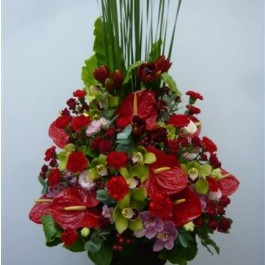 Arrangement of Cut Flowers in reds, Arrangement of Cut Flowers in reds