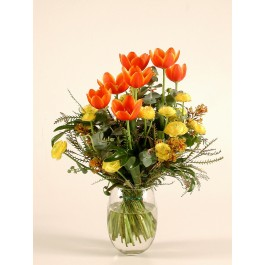 orenge and yellow tulips and buttercups bouq., orenge and yellow tulips and buttercups bouq.