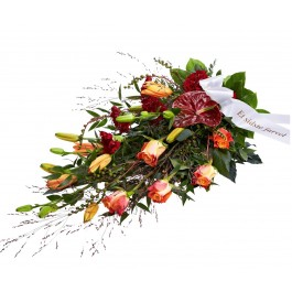 Funeral Spray, Golden, with ribbon, Funeral Spray, Golden, with ribbon