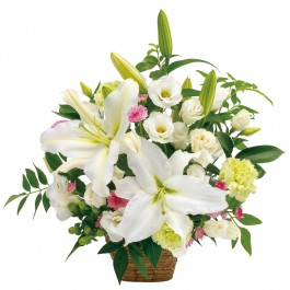 Sympathy arrangement in white with some pastel colors, Sympathy arrangement in white with some pastel colors