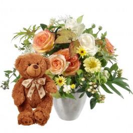 Doux bouquet de saison avec ours en peluche (brun), Doux bouquet de saison avec ours en peluche (brun)