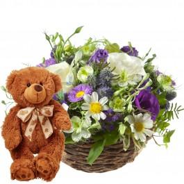 Charmant panier d'été avec ours en peluche (brun), Charmant panier d'été avec ours en peluche (brun)