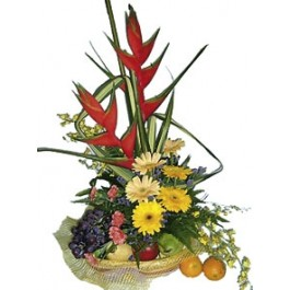 Arrangement of Cut Flowers with fruits, Arrangement of Cut Flowers with fruits