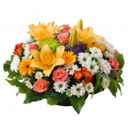 Multicoloured round funeral arrangement, Multicoloured round funeral arrangement