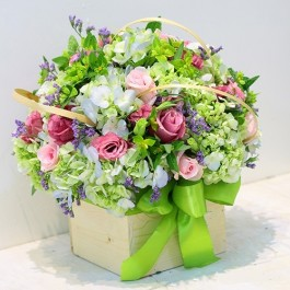 Mixed bouquet in container, Mixed bouquet in container