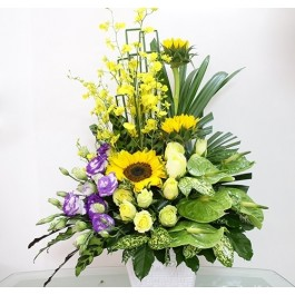 yellow & purple arrangement, yellow & purple arrangement