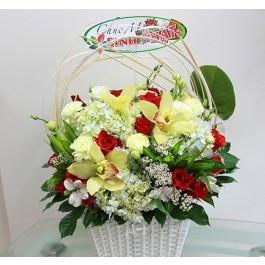 Basket Mixed Flowers, Basket Mixed Flowers