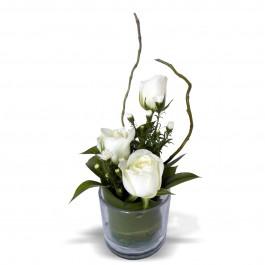 3 Rose Glass - White, 3 Rose Glass - White