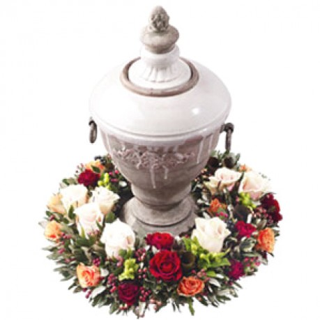 Rest in Peace - Urn Wreath of Roses, Rest in Peace - Urn Wreath of Roses