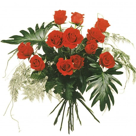 12 roses rouges avec verdure, 12 roses rouges avec verdure