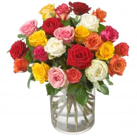 Bouquet de roses multicolores (24 roses), Bouquet de roses multicolores (24 roses)