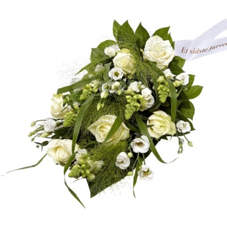 Funeral spray Florist's Choice with ribbon, Funeral spray Florist's Choice with ribbon