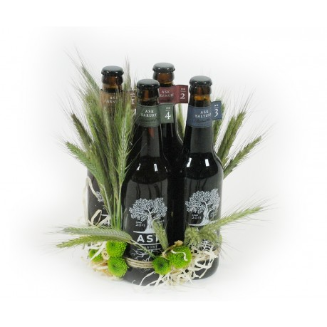 Four bottles of ASK beer with decoration, Four bottles of ASK beer with decoration
