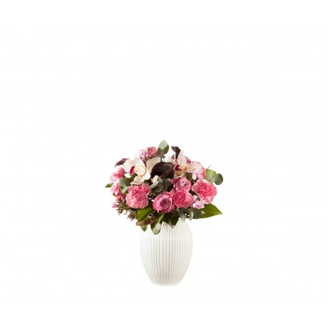 Vase 4767 white, with bouquet, Vase 4767 white, with bouquet