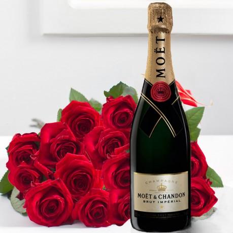 Ramo de 15 rosas acompañadas de Champaña de excepción  75 CL, Ramo de 15 rosas acompañadas de Champaña de excepción  75 CL