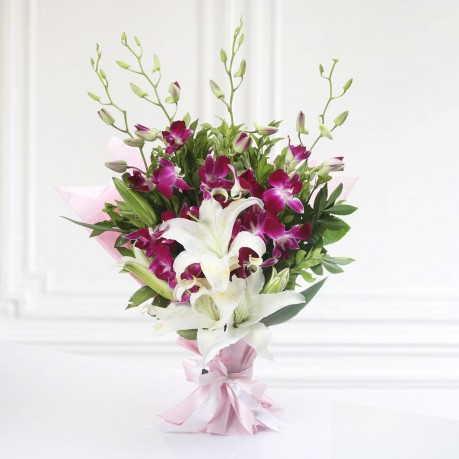 GRACEFUL BUNCH OF ORCHIDS AND LILIES, GRACEFUL BUNCH OF ORCHIDS AND LILIES