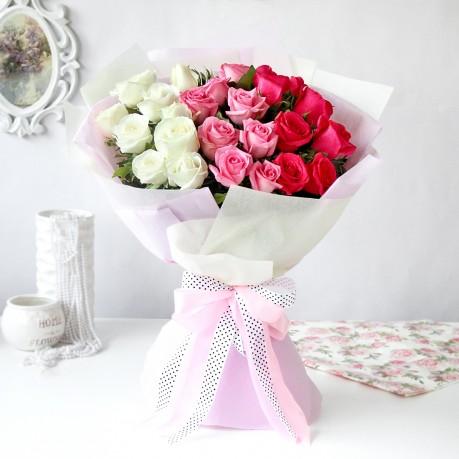 Bouquet of Roses in Ombre                 , Bouquet of Roses in Ombre