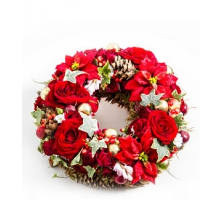 Christmas Wreath with Flowers, Christmas Wreath with Flowers