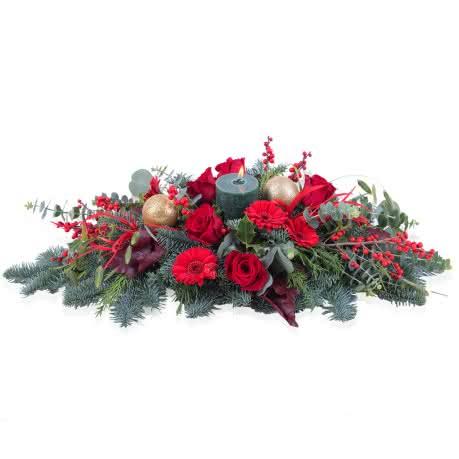 Noel, Centro Natalício Horizontal em tons vermelhos