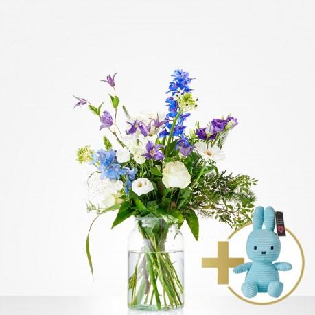 Combi Bouquet: Welcome little boy; including blue Niffy for, Combi Bouquet: Welcome little boy; including blue Niffy for