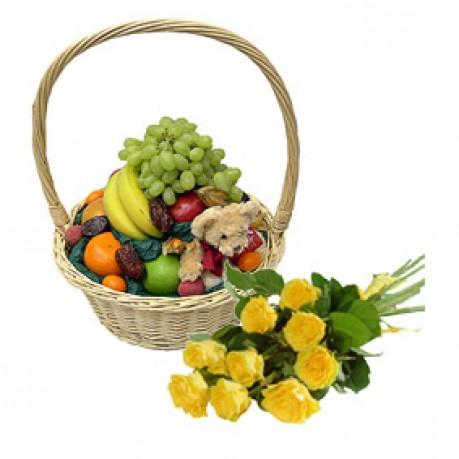 Корзина с фруктами и букет из 9 роз, Корзина с фруктами и букет из 9 роз