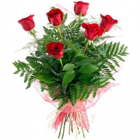 6 rosas de tallo large, 6 rosas de tallo large