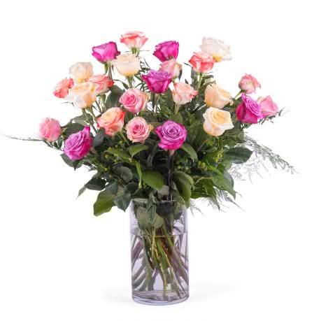 Entrega, 24 Rosas Multicor de Pé Longo