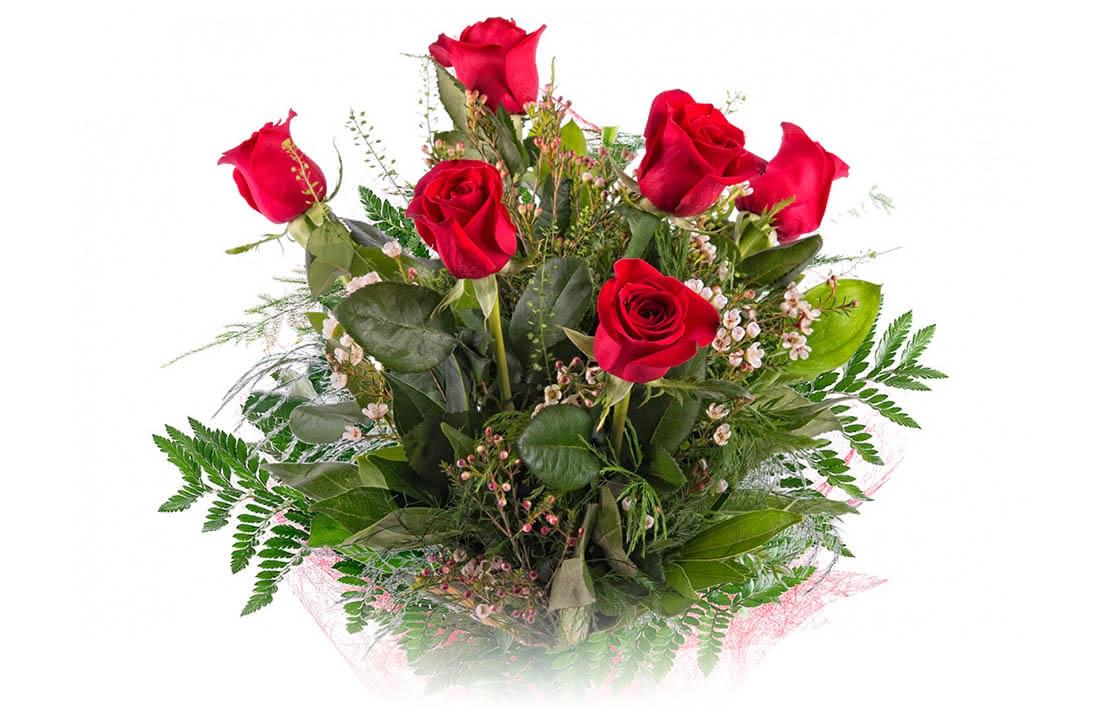 Um ramo de 6 rosas vermelhas com muito para dizer no dia 14 de fevereiro