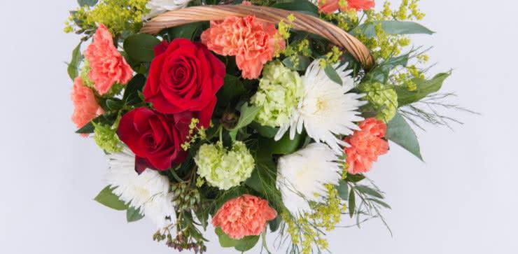Enviar cesta com rosas ao domicílio