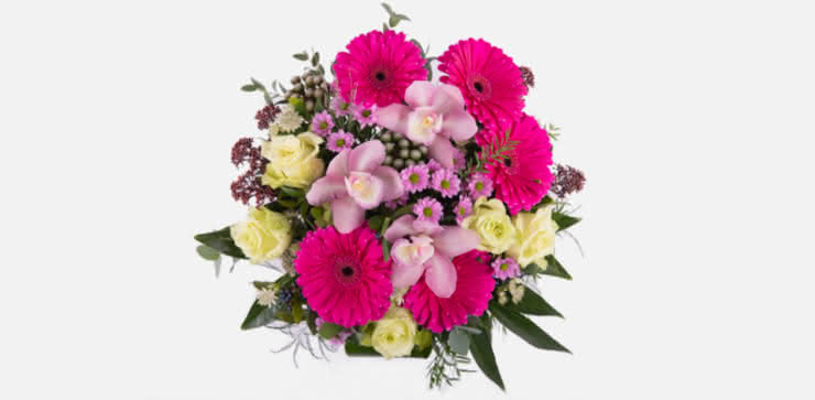 Enviar arranjo floral rosas e gerberas ao domicílio
