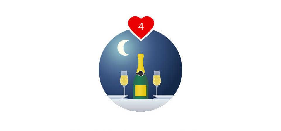 Não se esqueça do jantar romântico: velas, champanhe e uma sobremesa